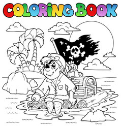 coloring book with pirate topic 2 vector image