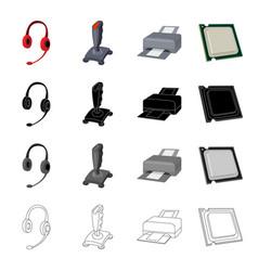 Computer equipment earphone with microphone vector