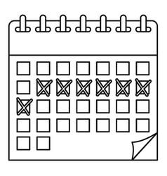 Contraceptive calendar icon outline style vector