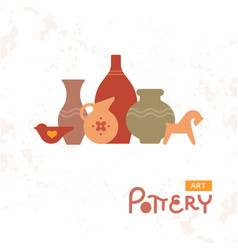 Craft vases pottery of clay handmade clay pottery vector