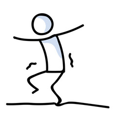Cute stick figure walking on tightrope lineart vector