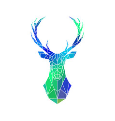 Deer low poly portrait blue and green gradient vector