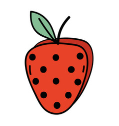 Delicious fresh strawberry organic fruit vector