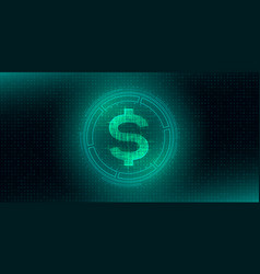 Digital currency usa dollar sign on abstract hud vector