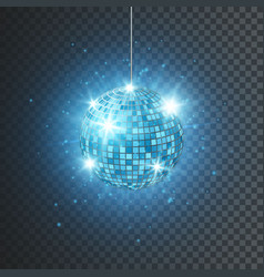 disco or mirror ball with bright rays music and vector image