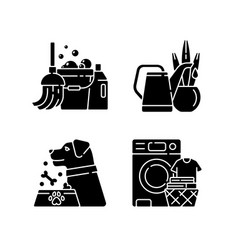 Domestic chores black glyph icons set on white vector
