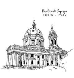Drawing sketch basilica superga turin vector