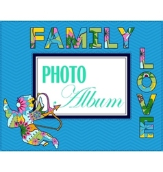 Family weddng album cover vector
