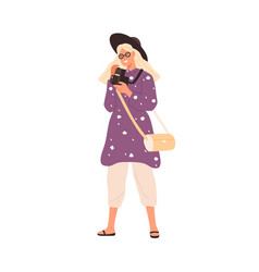 Fashion female with film camera 120 mm flat vector