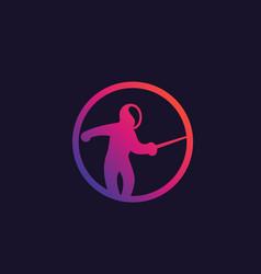 Fencing icon with fencer vector