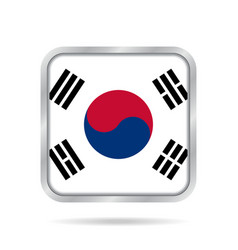 flag of south korea metallic gray square button vector image