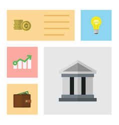 Flat gain set of cash billfold growth and other vector