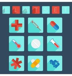 Flat medical icon set vector image