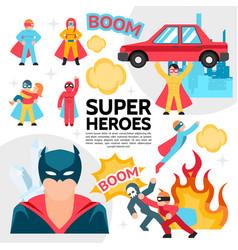 Flat superheroes template vector