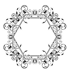 Floral decorative frame filigree hexagon ornament vector