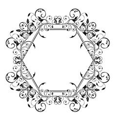 floral decorative frame filigree hexagon ornament vector image