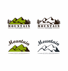 forest mountain adventure badge logo set vector image
