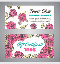 gift certificate for flower shop floral voucher vector image