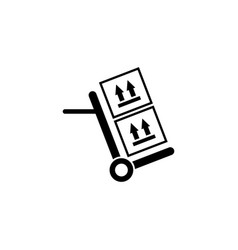 hand truck with cardboard boxes flat icon vector image