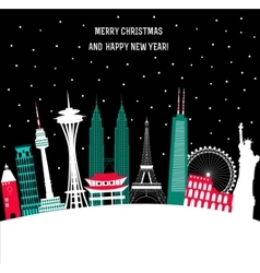 Happy New Year and Merry Christmas Travel vector