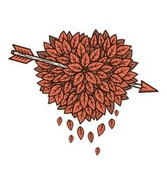 Heart leaves with arrow vector