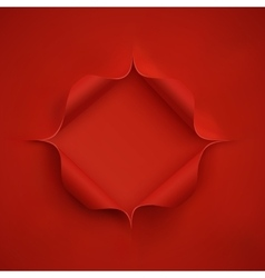 Hole in red paper vector