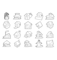 house icon set outline style vector image
