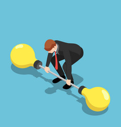 Isometric businessman trying to lifting up vector