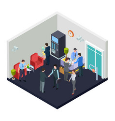 Isometric office lobby with security vector