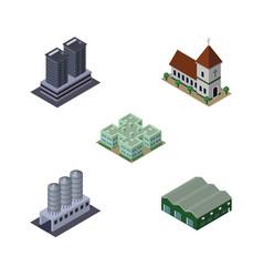 isometric urban set of water storage warehouse vector image