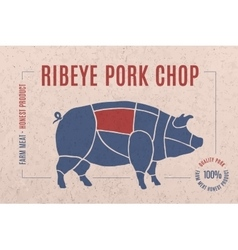 Label for pork steak meat cut vector