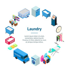 laundry banner card circle 3d isometric view vector image
