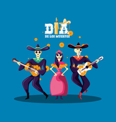 mariachi and catrina skulls day of the dead party vector image
