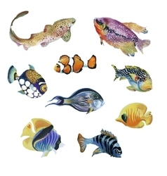 Marine life watercolor set with tropical fish vector