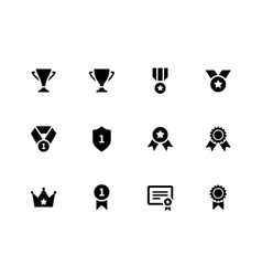 Medals and cup icons vector image