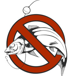 no fishing sign in circle shape vector image