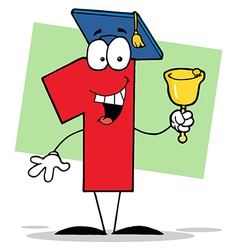 Number One Ringing A Bell And Graduate Cap vector image