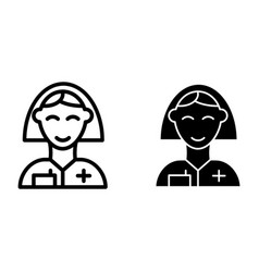 nurse line and glyph icon woman doctor symbol vector image
