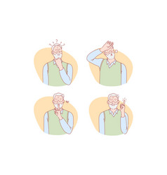 Old age thinking idea silence relief set vector