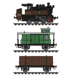 Old timber steam train vector