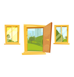 Open doors and sunset landscape behind windows vector