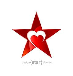 original metallic red star with heart vector image