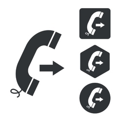 Outgoing call icon set monochrome vector