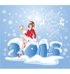 Pin Up Christmas Girl wearing Santa Claus suit vector image