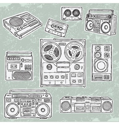 retro musical equipment vector image
