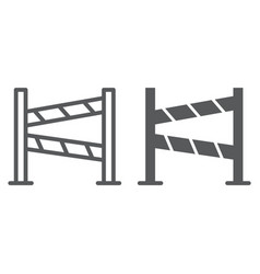 road fence line and glyph icon construction and vector image