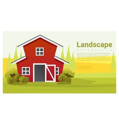 Rural landscape with farmhouse background vector