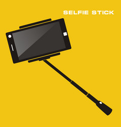 Selfie stick with mobile phone flat icon on vector