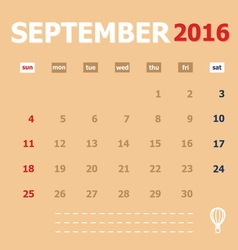 September 2016 monthly calendar template vector image
