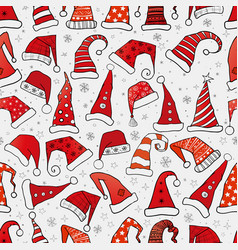 set christmas hats on brown parcel paper vector image